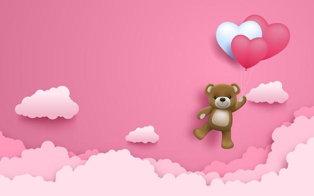 Иллюстрация любви и дня святого валентина, реалистичный милый счастливый ребенок медведь с воздушным шаром в форме сердца, летящим на розовом небе.