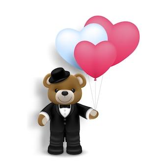 사랑과 발렌타인 데이, 공기 심장 모양 풍선 흰색 배경에 고립 된 현실적인 귀여운 행복 한 아기 곰 그림.