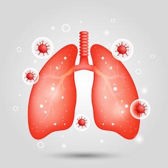 주위 코로나 바이러스와 폐의 그림
