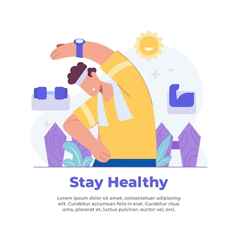 パンデミック時に自宅から健康を維持するイラスト