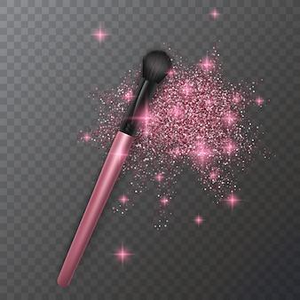 アイシャドウのメイクブラシのイラストとピンク色のきらびやかな質感、キラキライラスト