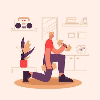 운동하는 남자 선수의 그림