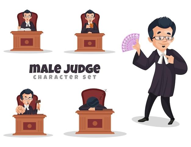 남성 판사 캐릭터 세트의 일러스트