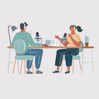 라디오 스튜디오에서 여자를 인터뷰하는 남자의 그림. 팟 캐스트 프로세스 만들기. 공기, 흰색 바탕에 라이브 블로그 개념입니다.