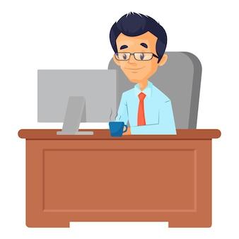 男性のイラストは、オフィスに座って、コンピューターで作業しています