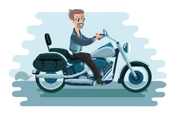 Иллюстрация человека, катающегося на олдскульном американском мотоцикле