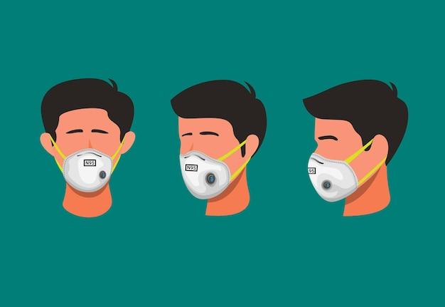 남자의 그림 만화 그림에서 바이러스 또는 먼지 오염 기호 개념에서 호흡기 얼굴 마스크 보호를 착용