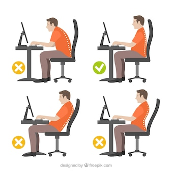 Illustration of man with correct and incorrect posture