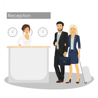 マネージャーとホテルのフロントでお客様のイラスト。コンシェルジュサービス。男性と女性の到着またはロビーでのチェックイン。レセプションでの女性。