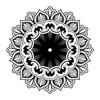 マンダラアート装飾デザインのイラスト。白い背景の太い黒い線。ベクトルイラスト。