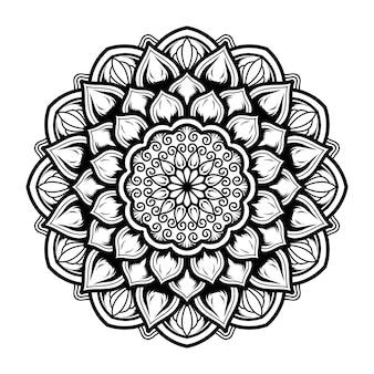 マンダラアート装飾デザインのイラスト。