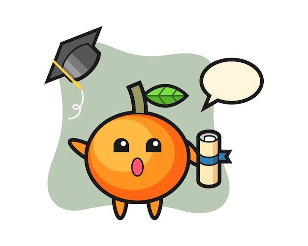 卒業式、かわいいスタイルのデザインで帽子を投げるオレンジ色の漫画のイラスト