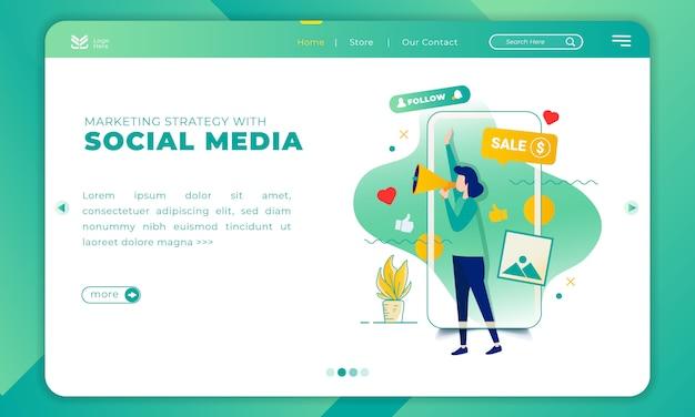 Иллюстрация маркетинговой стратегии с социальными медиа на шаблоне целевой страницы