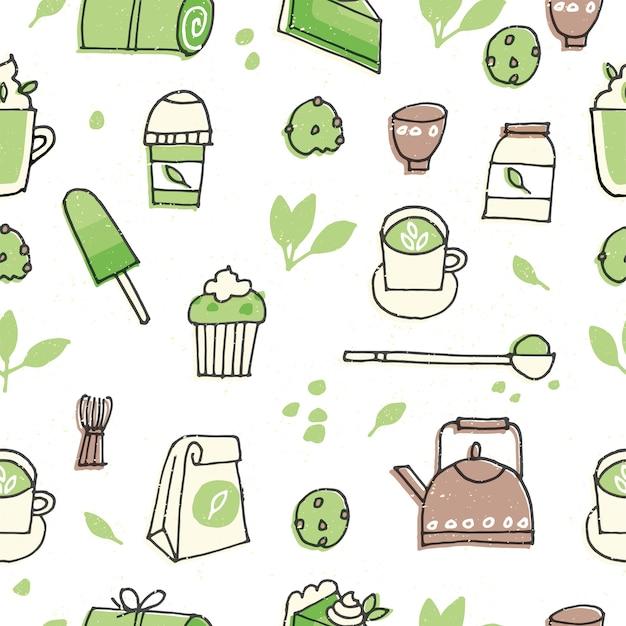 抹茶製品のイラスト。お茶、コーヒー、お菓子の手描きセット。シームレスパターン。