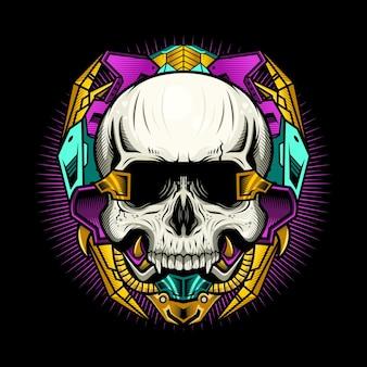 Иллюстрация механического черепа киберпанк