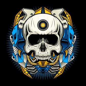 Иллюстрация механического черепа с синей броней