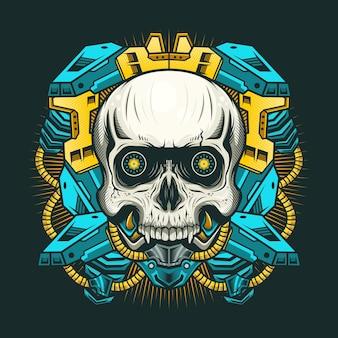 Иллюстрация механического черепа с короной
