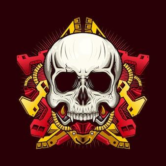 Иллюстрация механического черепа с красной броней