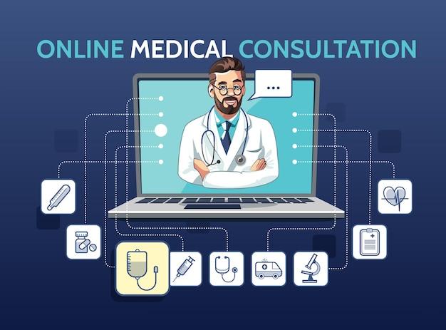노트북을 사용하는 의사와 의료 온라인 상담의 그림. 아이콘으로 앱 개념