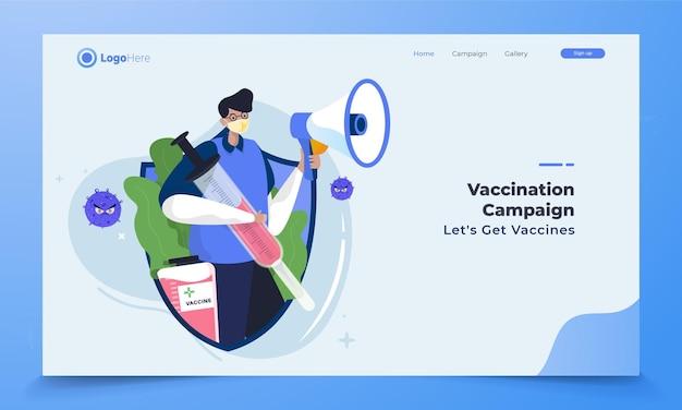 Иллюстрация медицинской бригады с кампанией вакцинации от коронавируса