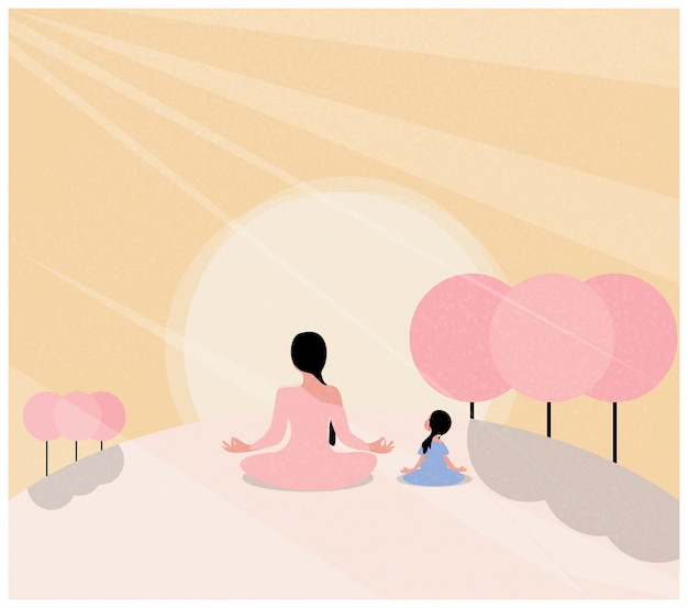 春の瞑想のイラスト。母と娘の蓮華座でヨガをやっています。花が咲くと太陽の光。国際ヨガの日