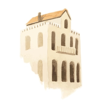지중해 도시 건물 외관 수채화 스타일의 일러스트 레이션 무료 벡터