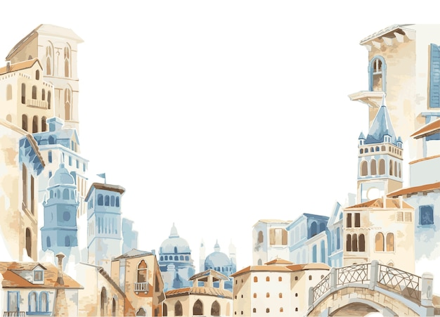 지중해 도시 건물 외관 수채화 스타일의 일러스트 레이션