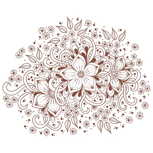 illustration of mehndi ornament. Traditional indian style, ornamental floral elements