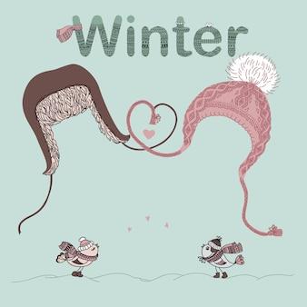 男性と女性の帽子、鳥愛好家、およびテキストのための場所のイラスト。バレンタインカードまたはクリスマスカード。