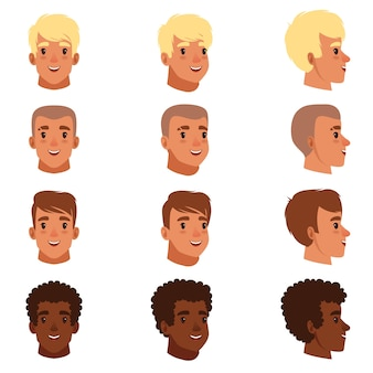 さまざまなヘアカットで設定された男性の頭のアバターのイラスト