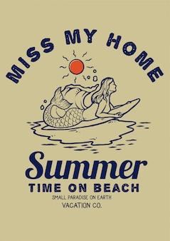 레트로 빈티지 컬러 팔레트와 함께 바다에서 서핑 인어의 그림