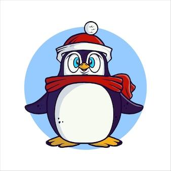 かわいい小さなペンギンとメリークリスマスのグリーティングカードのイラスト。休日のイラスト