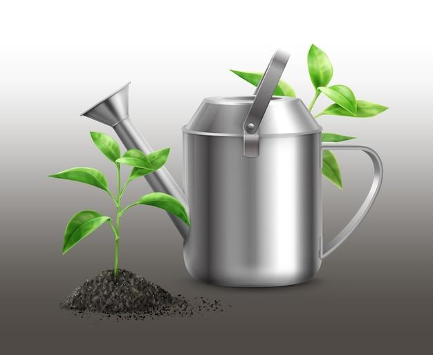 Иллюстрация металлической лейки с зелеными ростками