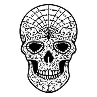 メキシコの砂糖の頭蓋骨のイラスト。死霊のえじき。 dia de los muertos。ロゴ、ラベル、エンブレム、看板、ポスター、tシャツのデザイン要素。