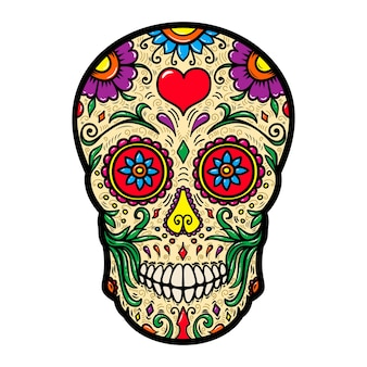 白い背景に分離されたメキシコの砂糖の頭蓋骨のイラスト。