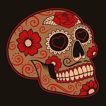 暗い背景にメキシコの砂糖の頭蓋骨のイラスト。各色はグループにあります