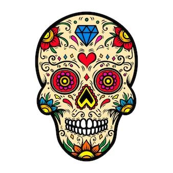 白い背景の上のメキシコの砂糖の頭蓋骨のイラスト。ポスター、カード、tシャツの要素。画像