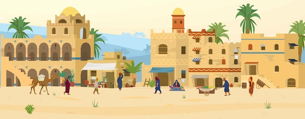 中東のシーンのイラスト。伝統的な泥レンガの家と人々がいる砂漠の古代アラビアの都市。アジアンバザール。
