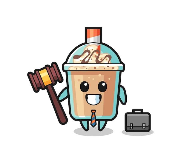 弁護士としてのミルクセーキのマスコットのイラスト、tシャツ、ステッカー、ロゴ要素のかわいいスタイルのデザイン