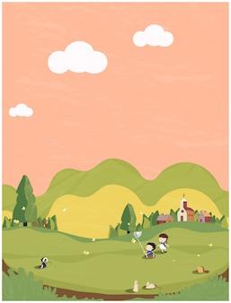 緑と地球のトーンで最小限の春夏のイラスト。頭の豚、バタフライ、バニーと外で遊ぶ子供たちとかわいい小さな村。春の人々のはがき。
