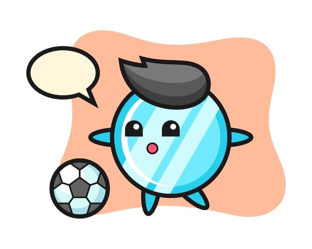 Иллюстрация зеркала мультфильм играет в футбол