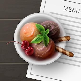 Иллюстрация смешанного мороженого с фруктами в бокале для коктейля на столе в кафе