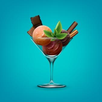 Иллюстрация смешанного мороженого с фруктами в бокале для коктейля с шоколадом
