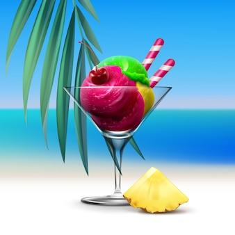 Иллюстрация смешанного мороженого с фруктами в бокале для коктейля