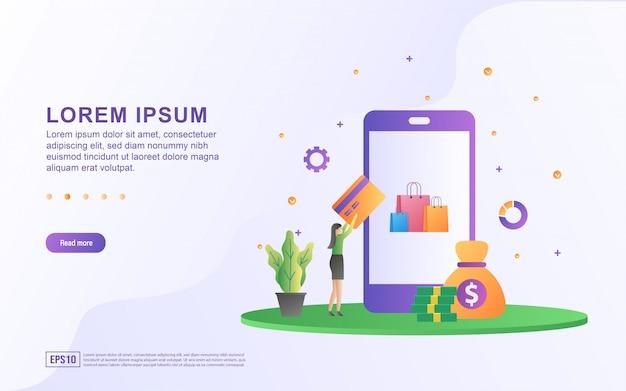 モバイル決済とスマートフォンとお金のアイコンでオンラインショッピングのイラスト