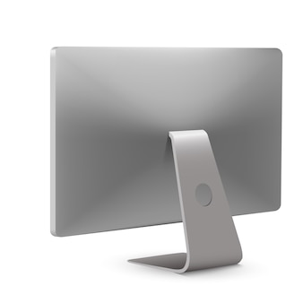 Иллюстрация современного монитора настольного компьютера вид сзади