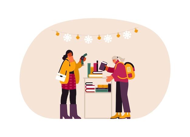 Иллюстрация современных женщин, выбирающих часы и книгу с полки при покупке подарков в магазине во время подготовки к рождеству
