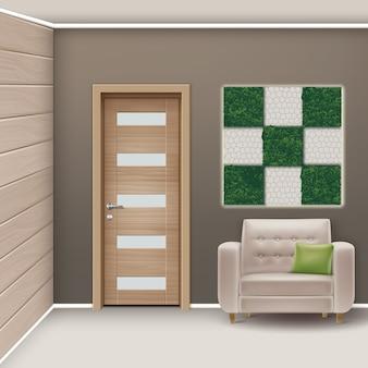 ミニマリストスタイルの家具と垂直庭園のあるモダンなインテリアルームのイラスト