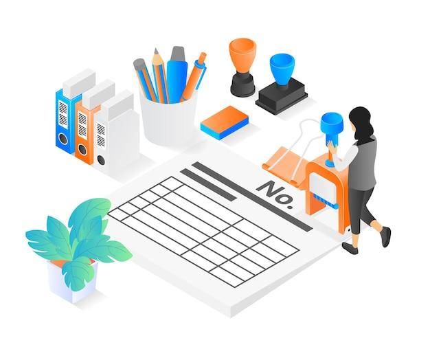 직장에서 회계사에 대한 현대적인 아이소메트릭 스타일의 그림