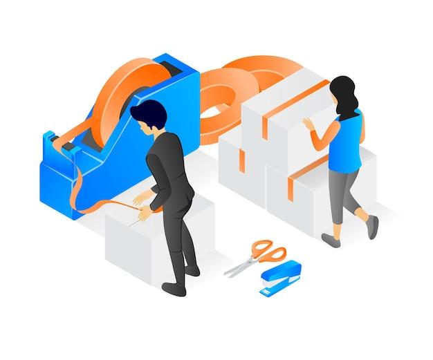 労働者が梱包していることについての現代のアイソメトリックスタイルのイラスト